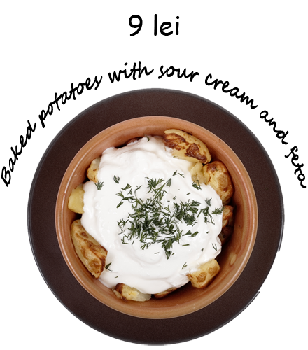 Baked potatoes with sour cream and feta