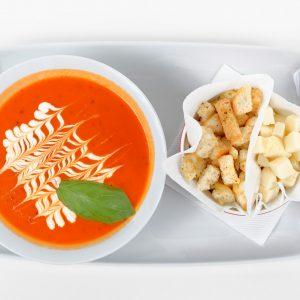 Supa crema de rosii cu mozarella si crutoane (300 ml/50 g/50 g)
